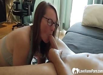 Sub GF in Glasses Sucks Big Cock and Licks Balls