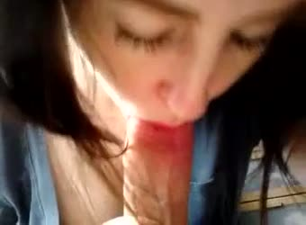 College girl with hot lips takes cum in her mouth