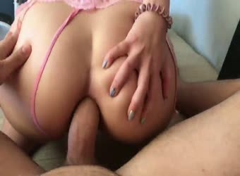 Hot schoolgirl loves big anal creampie