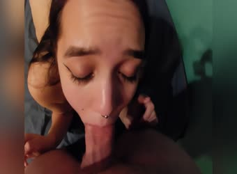 Teen deepthroats before getting fucked and cum on her face