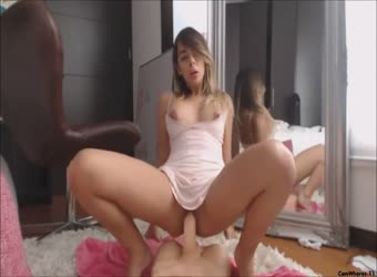 Perfect teen riding her pretend cock hard