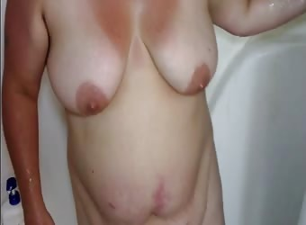 Sexy BBW Pisses In The Shower And Gets Face Cum