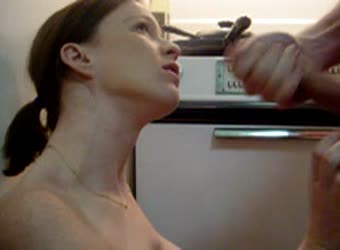 Side view of a slobbering wet blowjob and facial