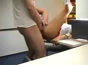 Hot sex at work after hours in the conference room