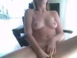 Tight blonde masturbates with banana on webcam
