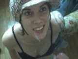 Cute brunette teen in hat blows for his cum