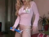 Horny blonde playing by herself at home