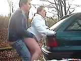 Doggystyle creampie on the car in public