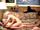 Blonde girl and boyfriend have a nice fuck on the couch