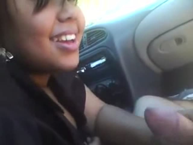 In car girl gives blowjob