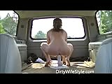 Dirty wife rides dildo in back of moving suburban
