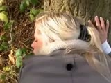 Blonde slut outdoor quick fuck and swallow
