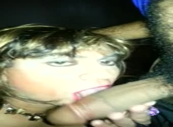 Straight guy getting sucked and swallowed by tranny