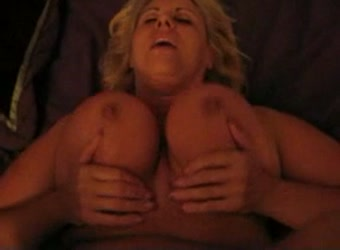Busty blonde BBW fucked and jizz on tits
