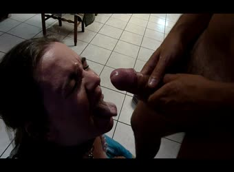 Whore wife gets big facial from younger stud