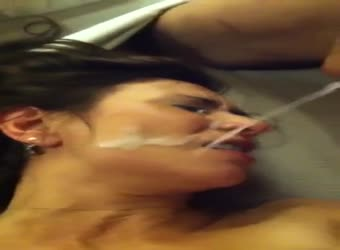 Black cock shoots a huge load on hotwife's face