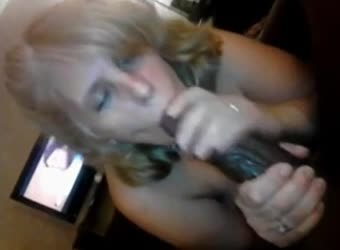 Mature cheating wife sucking a huge black cock