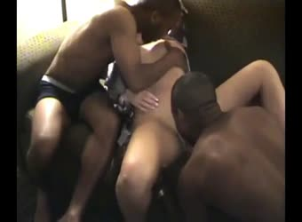 Horny busty cuckold wife gets off with 2 black studs