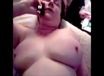 Mature BBW on phone with hubby taking huge bbc