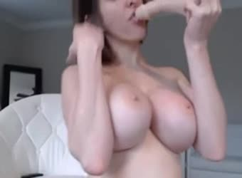 Big chested girl cums hard and often