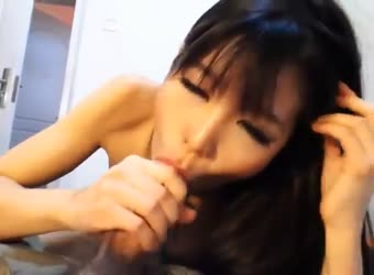Cute asian sex doll gives great blowjob