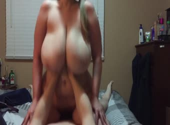 Massive bouncy tits riding dick on top