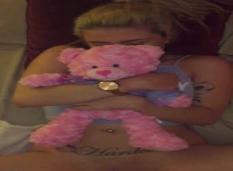 Shy baby girl holds her teddybear while getting fucked