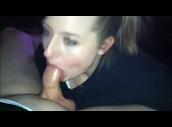 Chubby blonde gives a perfect cum swallow blowjob