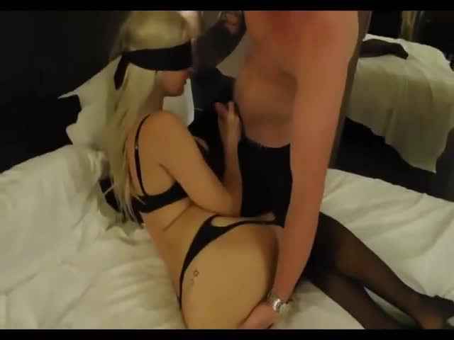 Blindfolded wife shared with stranger