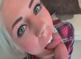 Bleached blonde cum swallow