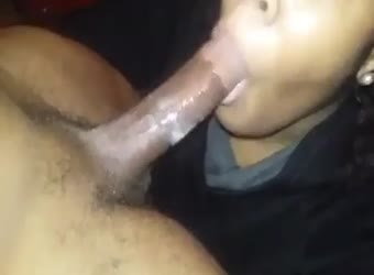 Ebony no hands cum swallow