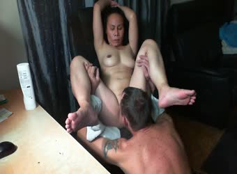 Mature asian licked and eaten to orgasm watching porn