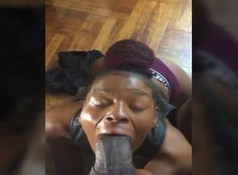 Ebony trying to suck the biggest BBC she ever had