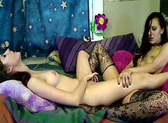 Intimate teen lesbians camming