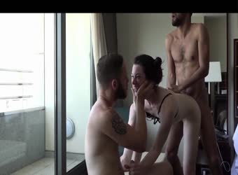 Hot babe fucks 2 guys in spain hotel