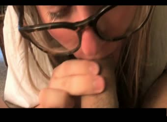 Nerdy college girl is a pro cum swallower