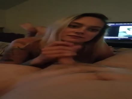 Cute blonde stroking his cock