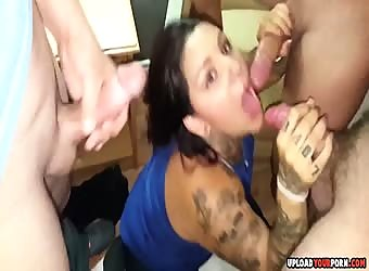 Amateur Wife Facialized By Three Dicks