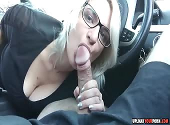 Blonde blowjob in car
