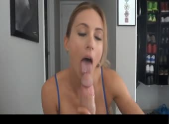 Gorgeous amateur sucks off big cock