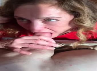 Horny milf licks balls to cum in mouth