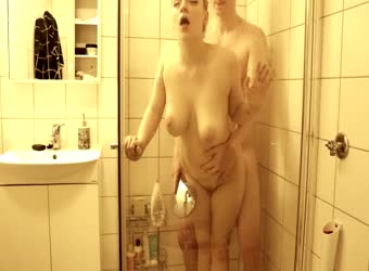 Young married couple hot fuck in the shower