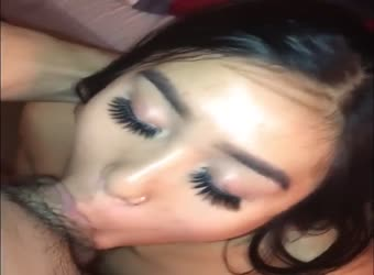Asian GF deepthroat cum swallow
