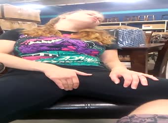 Wife gets horny and bates in furtniture store
