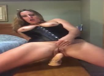 Horny wife rides and soaks big dildo
