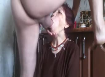Russian granny rough throat fucking