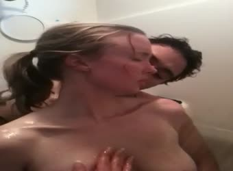 Stud fucking his wife in the shower