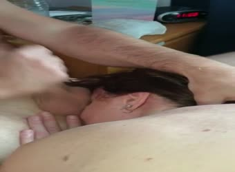 My dirty wife rimming and takes a big facial from a friend