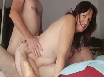 My slutwife getting DP from me and friend