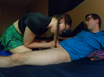 Sexy nerdy wife and husband cosplay and fantasy fuck
